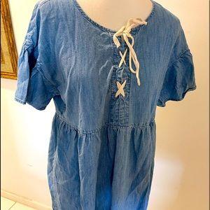 Joie lace up Neckline Denim Mini Dress Blue Size M